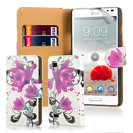 Design Book PU Leather Wallet Case For LG Optimus L9ii - Purple Rose Mobile phones