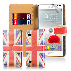 Design Book PU Leather Wallet Case For LG Optimus L9ii - Union Jack Mobile phones