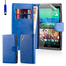 Book PU Leather Wallet Case For HTC Desire 320 - Deep Blue Mobile phones