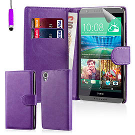 Book PU Leather Wallet Case For HTC Desire 320 - Purple Mobile phones