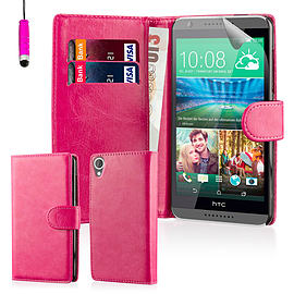 Book PU Leather Wallet Case For HTC Desire 826 - Hot Pink Mobile phones