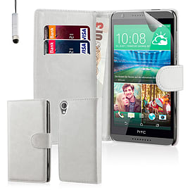 Book PU Leather Wallet Case For HTC Desire 826 - White Mobile phones