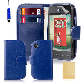 Book PU Leather Wallet Case For LG L50 - Deep Blue Mobile phones