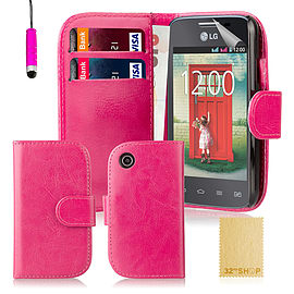 Book PU Leather Wallet Case For LG L50 - Hot Pink Mobile phones