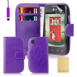 Book PU Leather Wallet Case For LG L50 - Purple Mobile phones