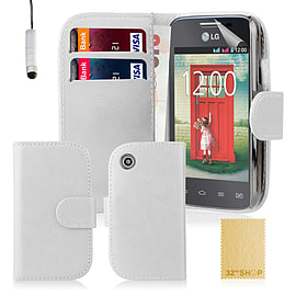 Book PU Leather Wallet Case For LG L50 - White Mobile phones