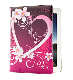 Design Book PU Leather Wallet Case For Tesco Hudl 2 - Love Heart Tablet