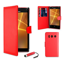 Book PU Leather Wallet Case For Huawei Ascend Y330 - Red Mobile phones
