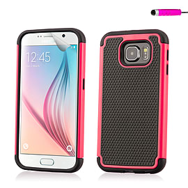 Dual Layer Shockproof Case For Samsung Galaxy S6 - Hot Pink Mobile phones