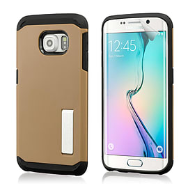 Dual Layer Slim Armour Shockproof Case For Samsung Galaxy S6 Edge - Gold Mobile phones