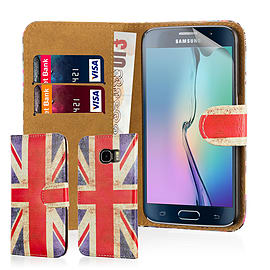Design Book PU Leather Wallet Case For Samsung Galaxy S6 Edge - Union Jack Mobile phones
