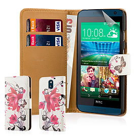 Design Book PU Leather Wallet Case For HTC Desire 610 - Purple Rose Mobile phones