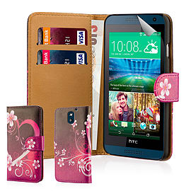 Design Book PU Leather Wallet Case For HTC Desire 610 - Love Heart Mobile phones
