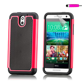 Dual Layer Shockproof Case For HTC Desire 610 - Hot Pink Mobile phones