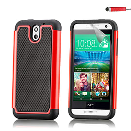 Dual Layer Shockproof Case For HTC Desire 610 - Red Mobile phones