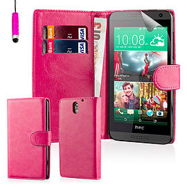 Book PU Leather Wallet Case For HTC Desire 820 - Hot Pink Mobile phones