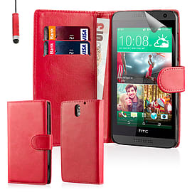 Book PU Leather Wallet Case For HTC Desire 620 - Red Mobile phones