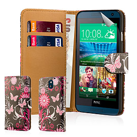 Design Book PU Leather Wallet Case For HTC Desire 620 - Gerbera Mobile phones