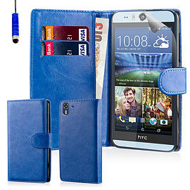 Book PU Leather Wallet Case For HTC Desire EYE - Deep Blue Mobile phones