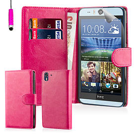 Book PU Leather Wallet Case For HTC Desire EYE - Hot Pink Mobile phones