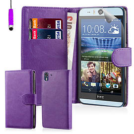 Book PU Leather Wallet Case For HTC Desire EYE - Purple Mobile phones