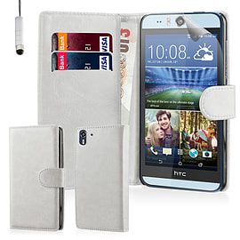 Book PU Leather Wallet Case For HTC Desire EYE - White Mobile phones