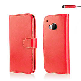 Book PU Leather Wallet Case for HTC One M9 - Red Mobile phones