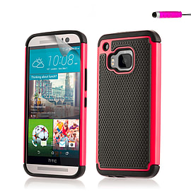 Dual Layer Shockproof Case for HTC One M9 - Hot Pink Mobile phones