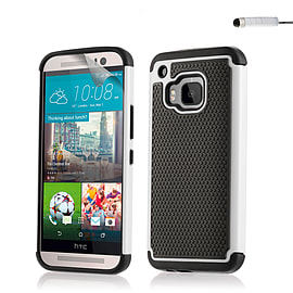 Dual Layer Shockproof Case for HTC One M9 - White Mobile phones