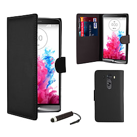 Book PU Leather Wallet Case For LG G4 - Black Mobile phones