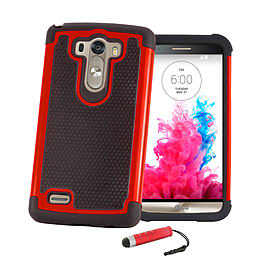 Dual Layer Shockproof Case For LG G4 - Red Mobile phones