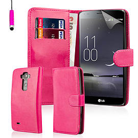 Book PU Leather Wallet Case For LG G Flex 2 - Hot Pink Mobile phones