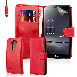 Book PU Leather Wallet Case For LG G Flex 2 - Red Mobile phones