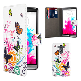 Design Book PU Leather Wallet Case For LG G Flex 2 - Colour Butterfly Mobile phones