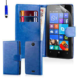 Book PU Leather Wallet Case For Microsoft Lumia 430 - Deep Blue Mobile phones