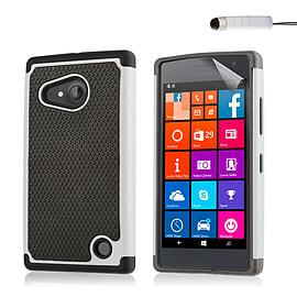 Dual Layer Shockproof Case For Microsoft Lumia 430 - White Mobile phones
