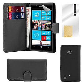 Book PU Leather Wallet Case For Microsoft Lumia 640 - Black Mobile phones