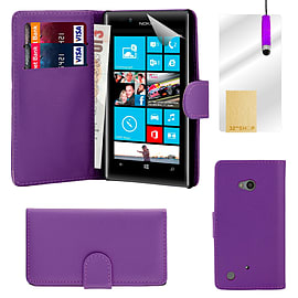 Book PU Leather Wallet Case For Microsoft Lumia 640XL - Purple Mobile phones