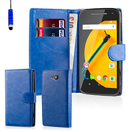 Book PU Leather Wallet Case For Motorola Moto E 2 (2nd Gen) - Deep Blue Mobile phones