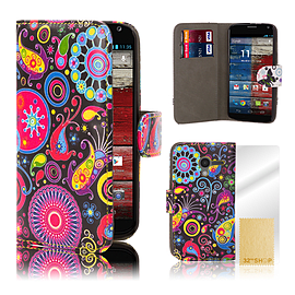 Design Book PU Leather Wallet Case For Motorola Moto E 2 (2nd Gen) - Jellyfish Mobile phones