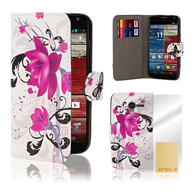 Design Book PU Leather Wallet Case For Motorola Moto E 2 (2nd Gen) - Purple Rose Mobile phones