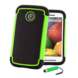 Dual Layer Shockproof Case For Motorola Moto E 2 (2nd Gen) - Green Mobile phones