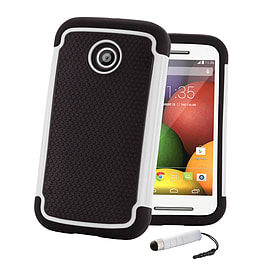 Dual Layer Shockproof Case For Motorola Moto E 2 (2nd Gen) - White Mobile phones