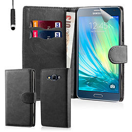 Book PU Leather Wallet Case For Samsung Galaxy A7 - Black Mobile phones