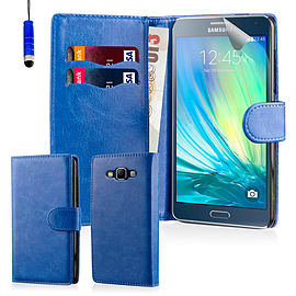 Book PU Leather Wallet Case For Samsung Galaxy A7 - Deep Blue Mobile phones