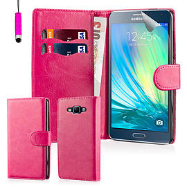 Book PU Leather Wallet Case For Samsung Galaxy A7 - Hot Pink Mobile phones