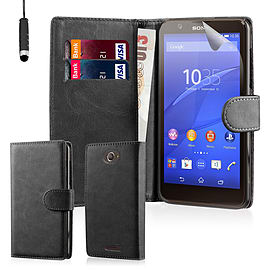 Book PU Leather Wallet Case For Sony Xperia E4 - Black Mobile phones