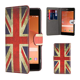 Design Book PU Leather Wallet Case For Sony Xperia E4 - Union Jack Mobile phones