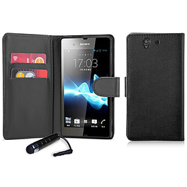 Book PU Leather Wallet Case For Sony Xperia M4 - Black Mobile phones