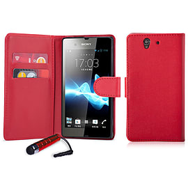 Book PU Leather Wallet Case For Sony Xperia M4 - Red Mobile phones